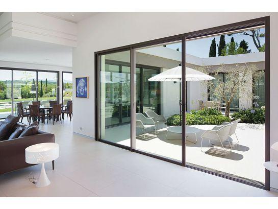 baie coulissante aluminium 3 vantaux 3 rails standard ou. Black Bedroom Furniture Sets. Home Design Ideas